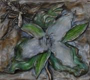 White Flower Reliefs - Wild Trillium and Cranefly by Dawn Senior-Trask