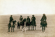 Cowboy Hat Photos - Wild West. Roping Gray Wolf, Cowboys by Everett