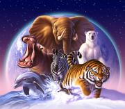 Planet Digital Art Prints - Wild World Print by Jerry LoFaro