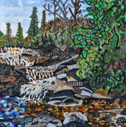 Falls Paintings - Wildcat Falls by Micah Mullen