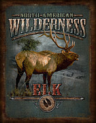 Pine Tree Painting Framed Prints - Wilderness Elk Framed Print by JQ Licensing