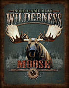 Antlers Metal Prints - Wilderness Moose Metal Print by JQ Licensing