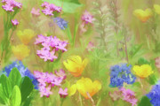 Periwinkle Flowers Posters - Wildflower Field Poster by Bonnie Bruno