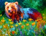 Wildlife Painting Posters - Wildflower Grizz II Poster by Marion Rose