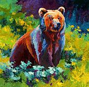 Bears Paintings - Wildflower Grizz by Marion Rose