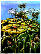 Bee Drawings - Wildflowers and Honey by Paul Abrahamsen