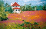 Red Roof Pastels Framed Prints - Wildflowers at Seabrook Framed Print by Patricia Huff