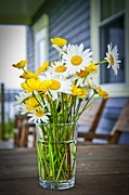 White Daisy Framed Prints - Wildflowers bouquet at cottage Framed Print by Elena Elisseeva