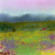 Field Pastels Prints - Wildflowers Print by David Patterson