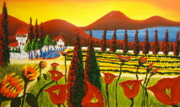 Wineries Painting Prints - Wildflowers Of Tuscany 3 Print by James Dunbar