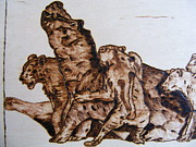 Canvas Pyrography - wildlife Africa-wood carving pyrography by Egri George-Christian