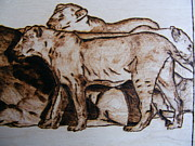 Pyrography Pyrography Posters - wildlife AFRICA-wood pyrography Poster by Egri George-Christian