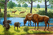 Bison Prints - Wildlife Of The Pleistocene Era Print by Mauricio Anton