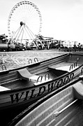 Amusement Park Prints - Wildwood Black Print by John Rizzuto