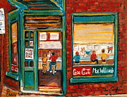 Montreal Storefronts Paintings - Wilensky Lunch Counter Sandwich Shop Montreal City Scene by Carole Spandau
