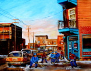 Hockey In Montreal Paintings - Wilenskys A Friendly Game Of Hockey by Carole Spandau
