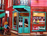 Resto Cafes Posters - Wilenskys Cafe On Fairmount In Montreal Poster by Carole Spandau