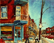 Hockey In Montreal Paintings - Wilenskys Corner Fairmount And Clark by Carole Spandau