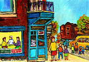 Montreal Storefronts Paintings - Wilenskys Counter With School Bus Montreal Street Scene by Carole Spandau