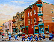 Kids Playing Hockey Paintings - Wilenskys Diner Hockey Game In Progress by Carole Spandau