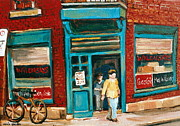 Montreal Storefronts Paintings - Wilenskys Lunch Counter  Fairmount Montreal Street Scene by Carole Spandau