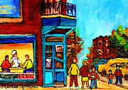 Crowds Paintings - Wilenskys Lunch Counter With School Bus Montreal Street Scene by Carole Spandau
