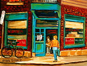 Montreal Storefronts Paintings - Wilenskys Restaurant by Carole Spandau