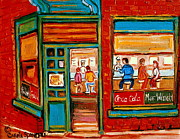 Montreal Storefronts Paintings - Wilenskys Sandwich Shop Corner Fairmount And Clark Le Plateau Montreal by Carole Spandau
