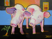 Organic Painting Originals - Wiley and  Mut by Christine Belt