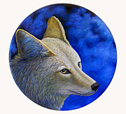 Moonscape Painting Prints - Wiley Coyote Print by Brian  Commerford