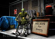 Robot Digital Art - Will Work For Energy by Bob Orsillo