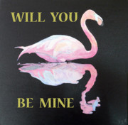 Asia Mixed Media Acrylic Prints - Will you be mine Flamingo Acrylic Print by Eric Kempson