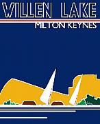 Milton Keynes Prints - Willen Lake Milton Keynes poster art Print by Zbigniew Rusin