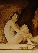 Woodburning Pyrography - William Bouguereau Seated Nude  by Jo Schwartz