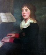 Music Score Paintings - William Crotch English composer playing piano by Lee Serenethos