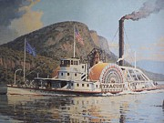 Vintage River Scenes Framed Prints - William G Muller Lithograph Towboat Syracuse  Framed Print by Jake Hartz