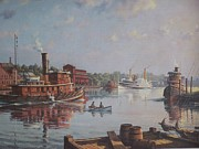 Vintage River Scenes Prints - William G Muller Rondout Creek Print by Jake Hartz
