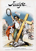 Political Cartoon Framed Prints - William Jennings Bryan And The Cross Framed Print by Everett