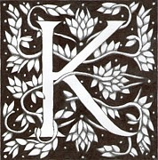 Donna Huntriss Metal Prints - William Morris Letter K Metal Print by Donna Huntriss