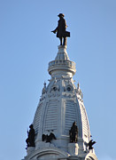 City Hall Prints - William Penn - On Top of City Hall Print by Bill Cannon