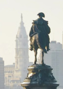 Cityhall Digital Art - William Penn and George Washington - Philadelphia by Bill Cannon