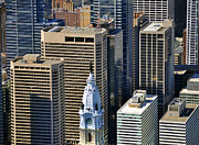 Aerial Photo Of Philadelphia Posters - William Penn Statue on City Hall Broad St and Market St Philadelphia Pennsylvania 19107 Poster by Duncan Pearson