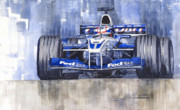 Sport Painting Framed Prints - Williams BMW FW24 2002 Juan Pablo Montoya Framed Print by Yuriy  Shevchuk