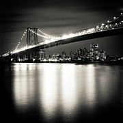 Williamsburg Photos - Williamsburg Bridge At Night by Adam Garelick