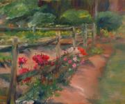 Split Rail Fence Painting Prints - Williamsburg Roses Print by Ann Bailey