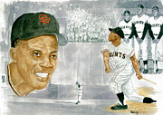 Hall Of Fame Painting Framed Prints - Willie Mays - The Greatest Framed Print by George  Brooks