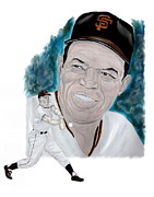 San Francisco Giants Painting Framed Prints - Willie Mays Framed Print by Steve Ramer