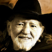 Aj Hansen Framed Prints - Willie Nelson Framed Print by Arne Hansen
