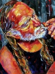 Palette Knife Acrylic Prints - Willie Nelson Booger Red Acrylic Print by Debra Hurd