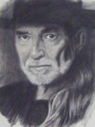 Willie Drawings - Willie Nelson  by Cynthia Campbell